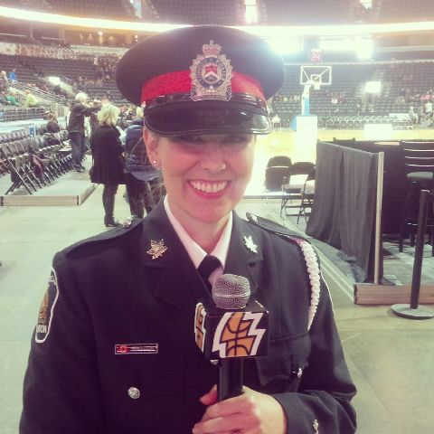 London Ontario Canada Police Officer Sandasha Ferguson regularly sings the National Anthem for local sporting and policing events in London and around Ontario